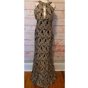 NWT Black & Gold Lace Keyhole Halter Mermaid Gown